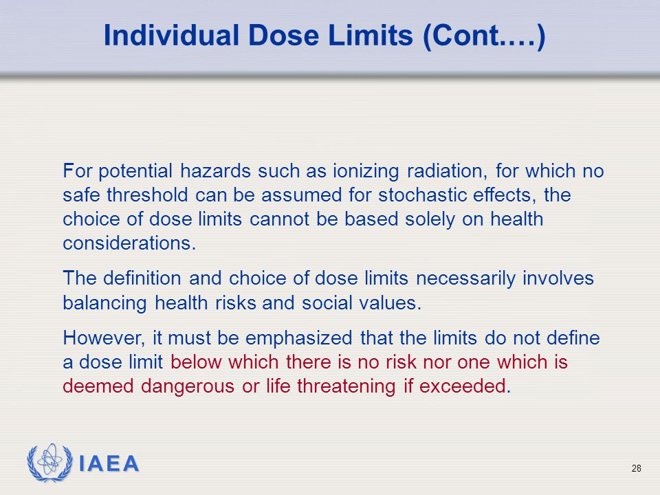 Individual Dose Limits (Cont.…)