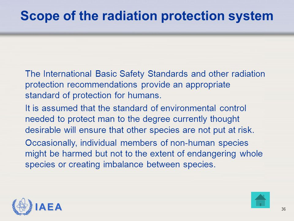 Scope of the radiation protection system