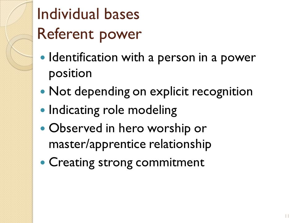 Individual bases Referent power