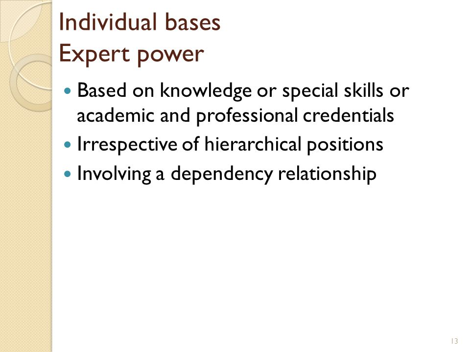 Individual bases Expert power