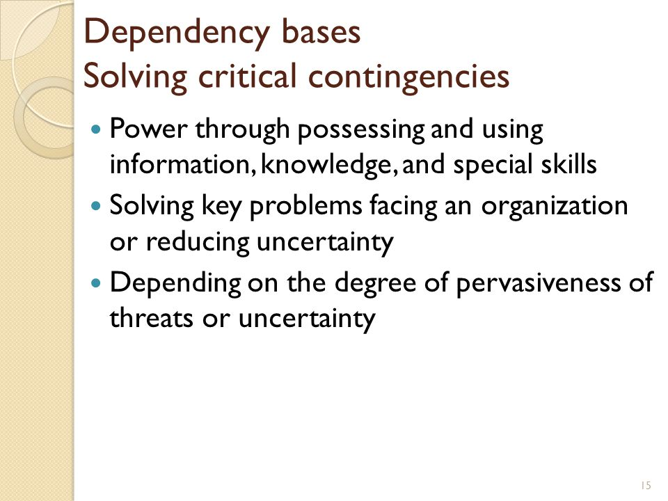 Dependency bases Solving critical contingencies