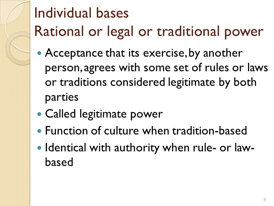 Individual bases Rational or legal or traditional power
