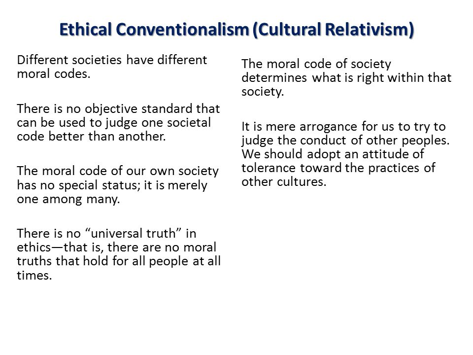 Ethical Conventionalism (Cultural Relativism)