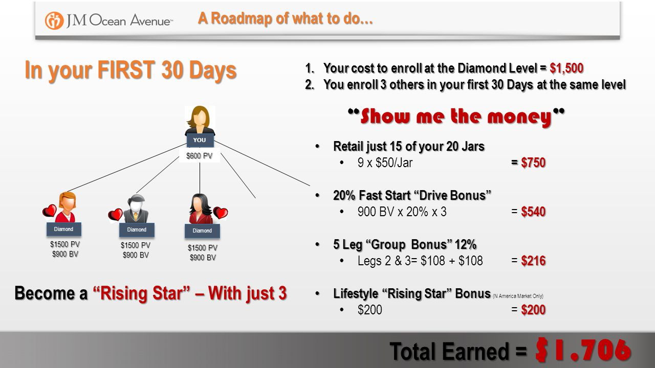 In your FIRST 30 Days Total Earned = $1,706 Show me the money
