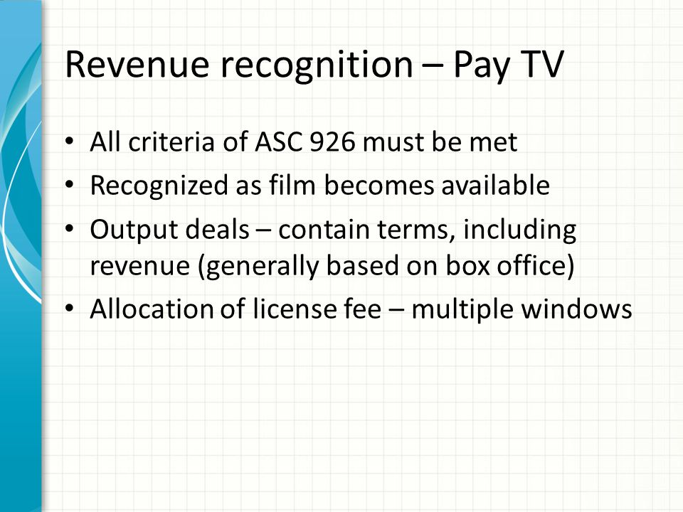 Revenue recognition – Free TV