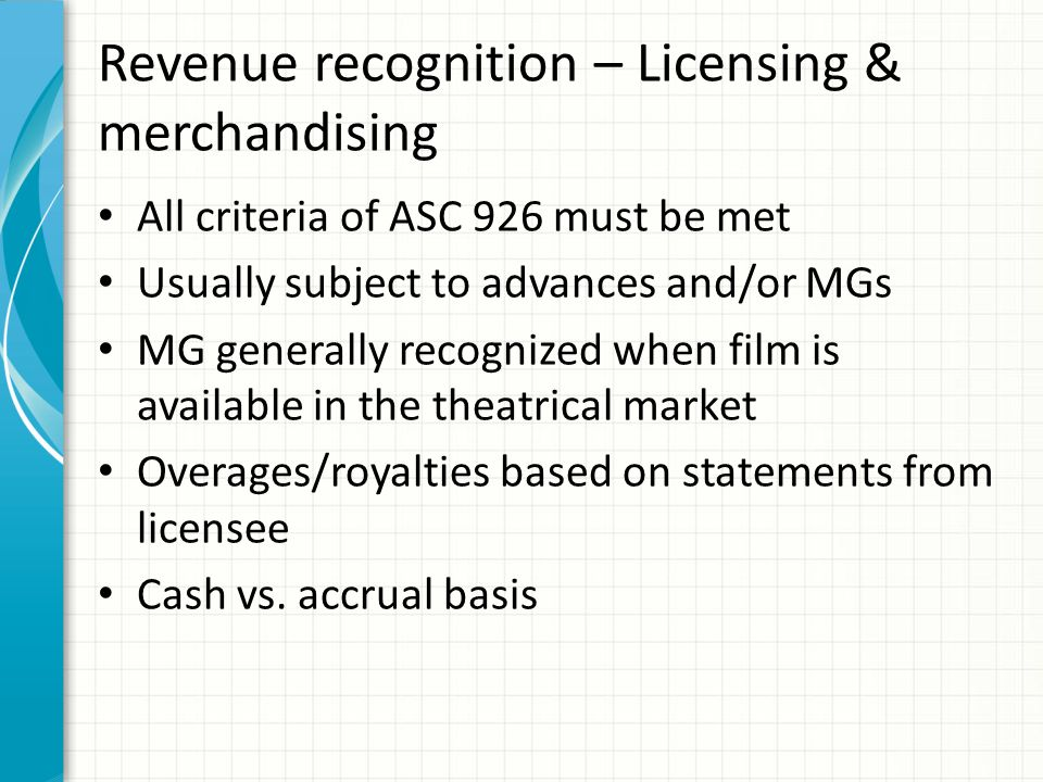 Revenue recognition – TV shows