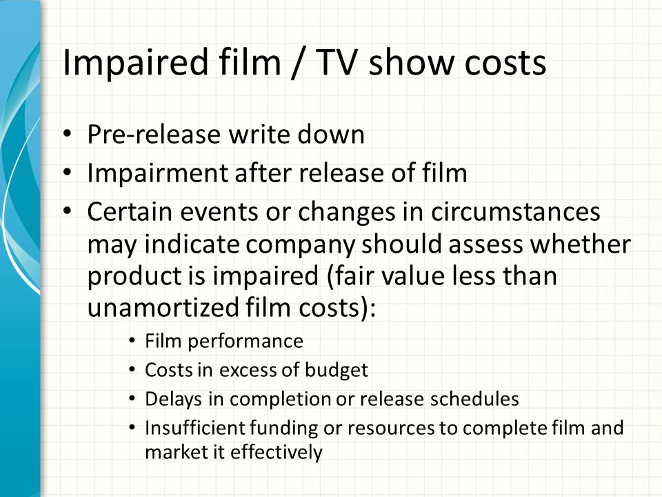 Impaired film / TV show costs