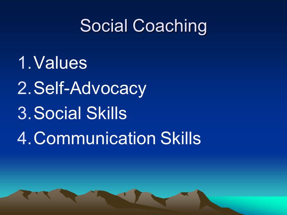 Social Coaching Values Self-Advocacy Social Skills Communication Skills