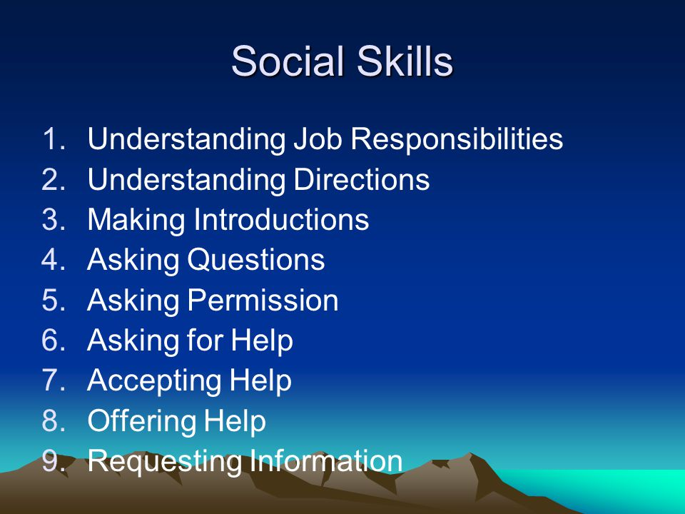 Social Skills Understanding Job Responsibilities