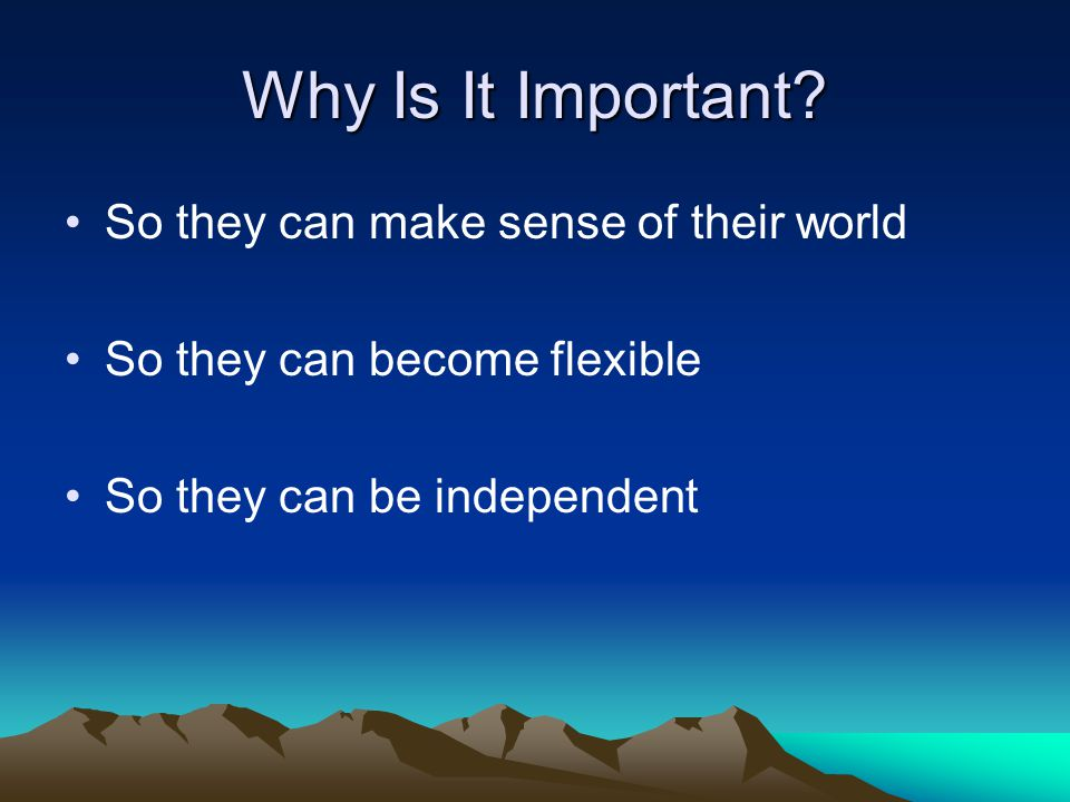 Why Is It Important So they can make sense of their world