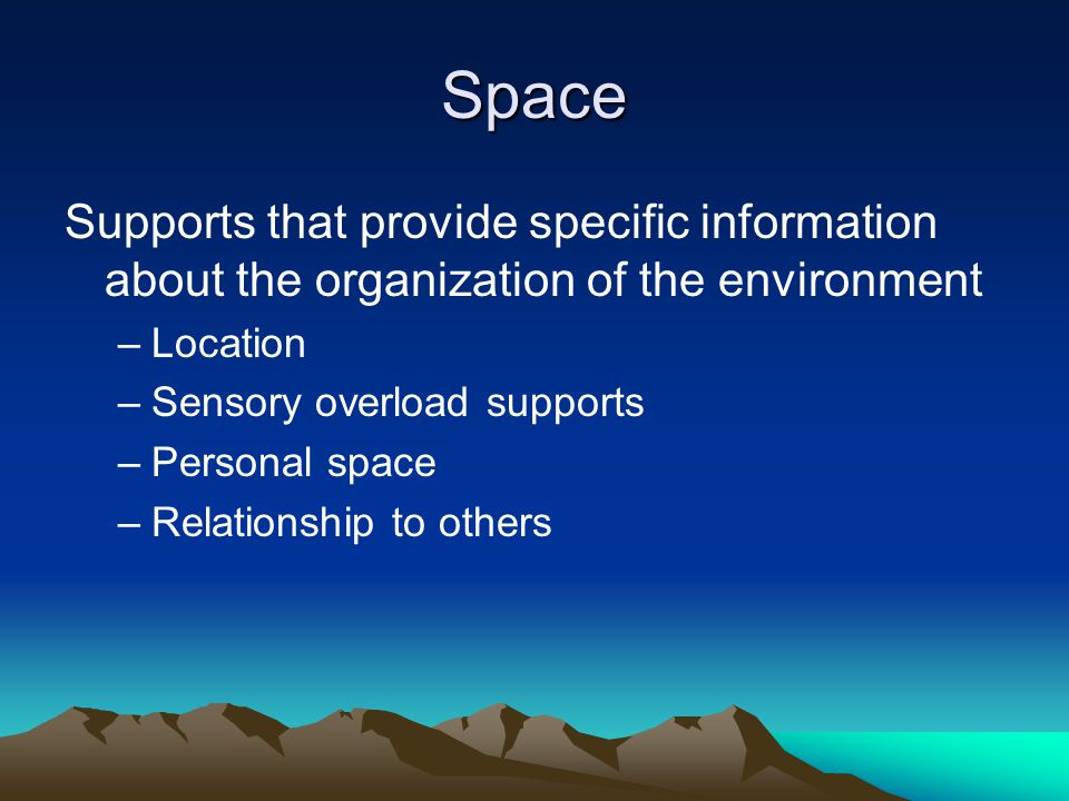 Space Supports that provide specific information about the organization of the environment. Location.