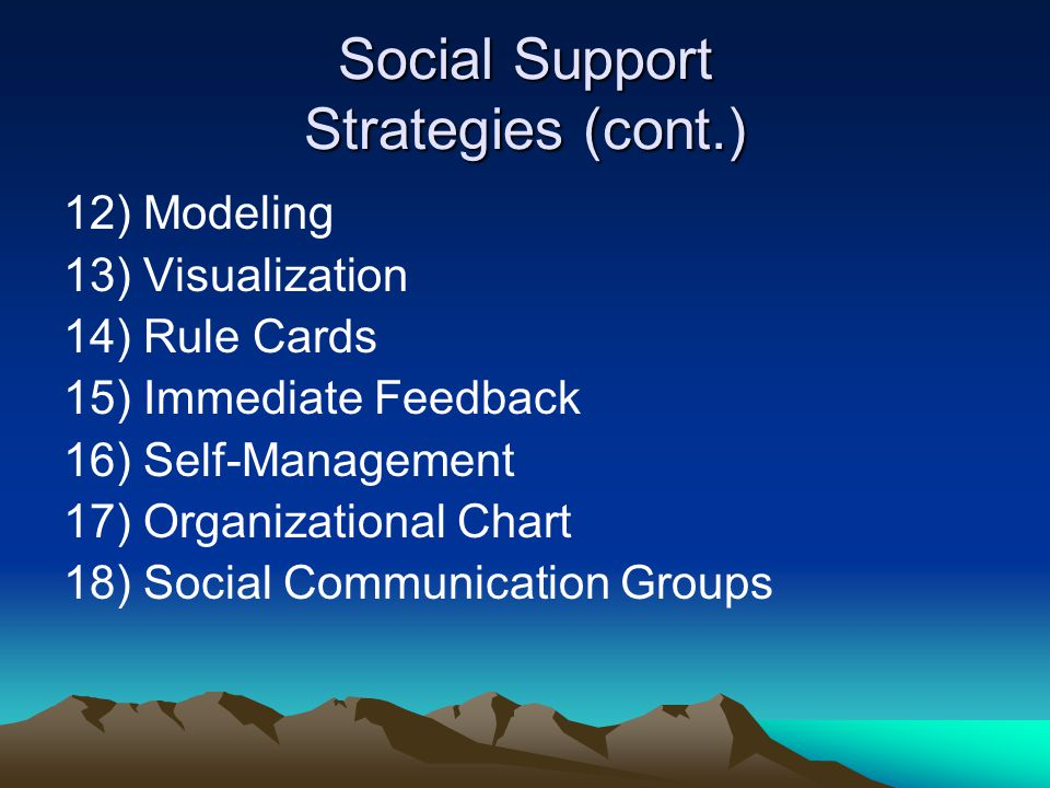 Social Support Strategies (cont.)