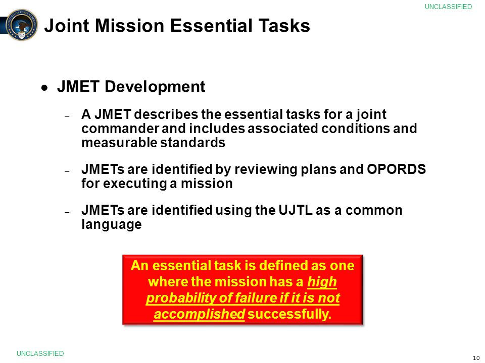 Joint Mission Essential Tasks