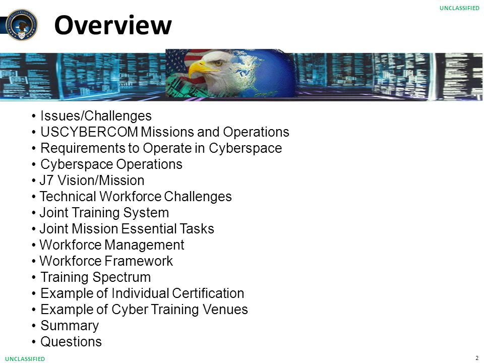 Overview Issues/Challenges USCYBERCOM Missions and Operations