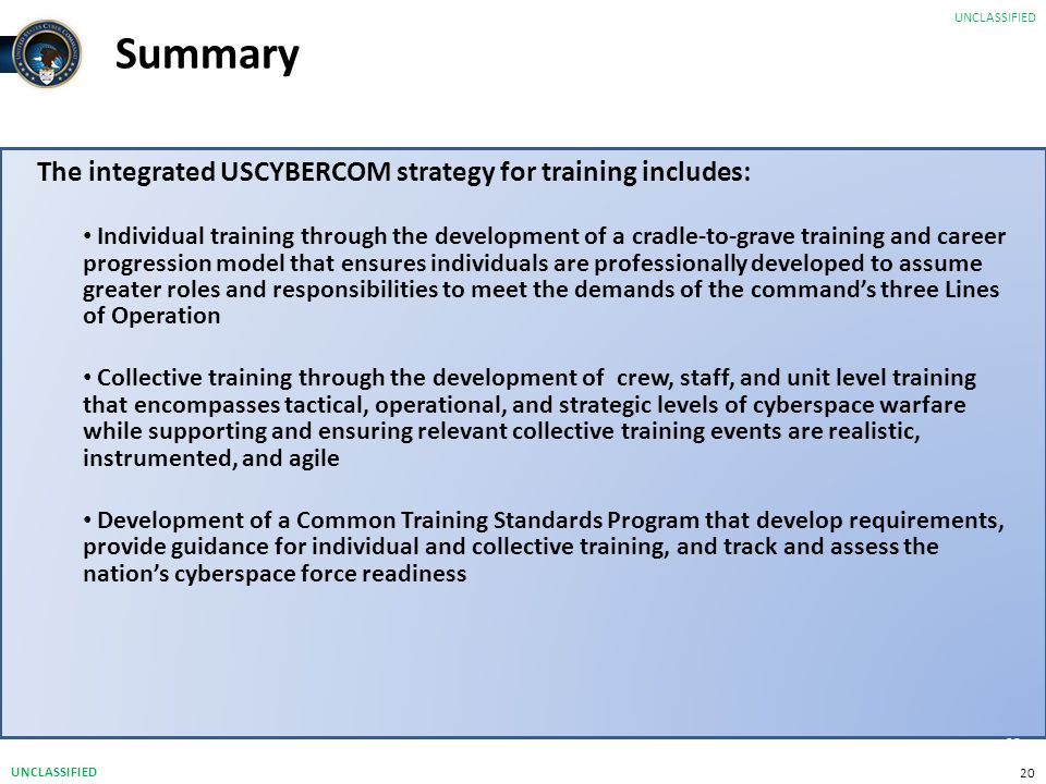 Summary The integrated USCYBERCOM strategy for training includes: