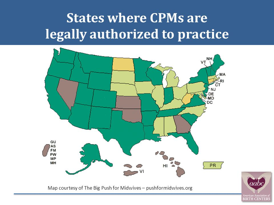 States where CPMs are legally authorized to practice