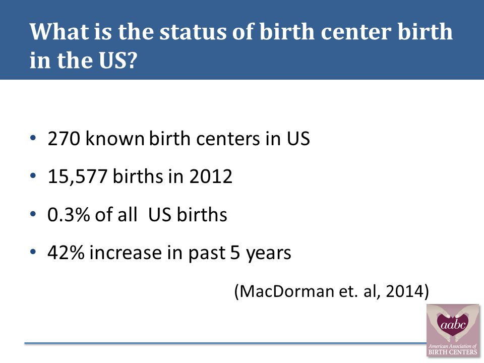 What is the status of birth center birth in the US