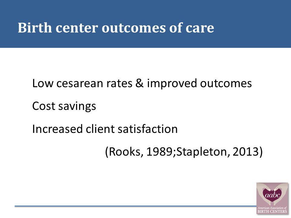 Birth center outcomes of care