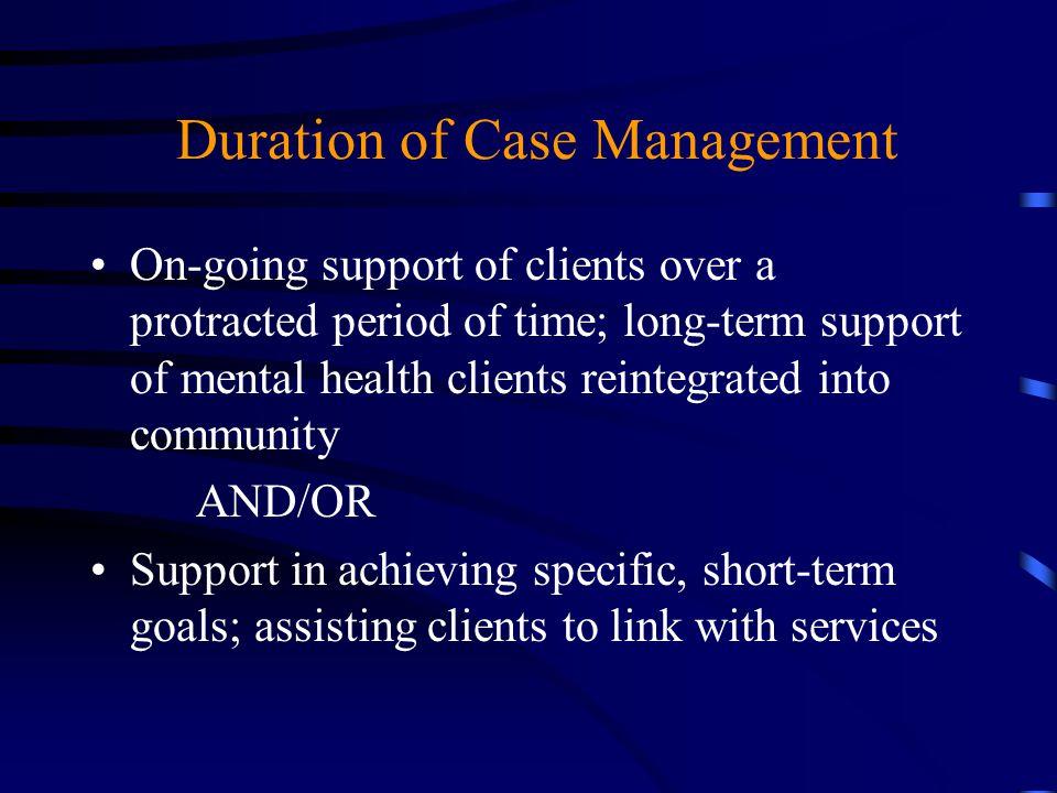 Duration of Case Management