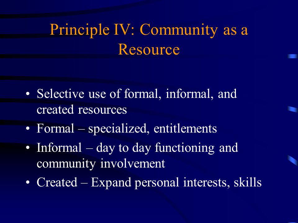 Principle IV: Community as a Resource