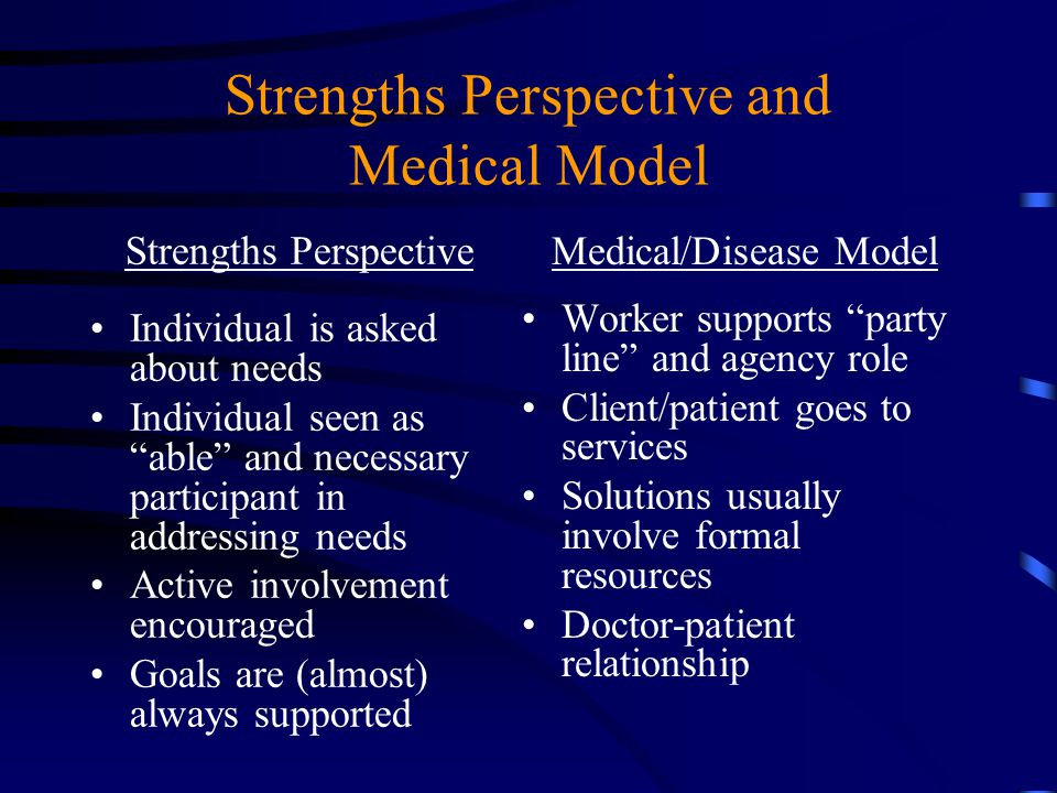 Strengths Perspective and Medical Model