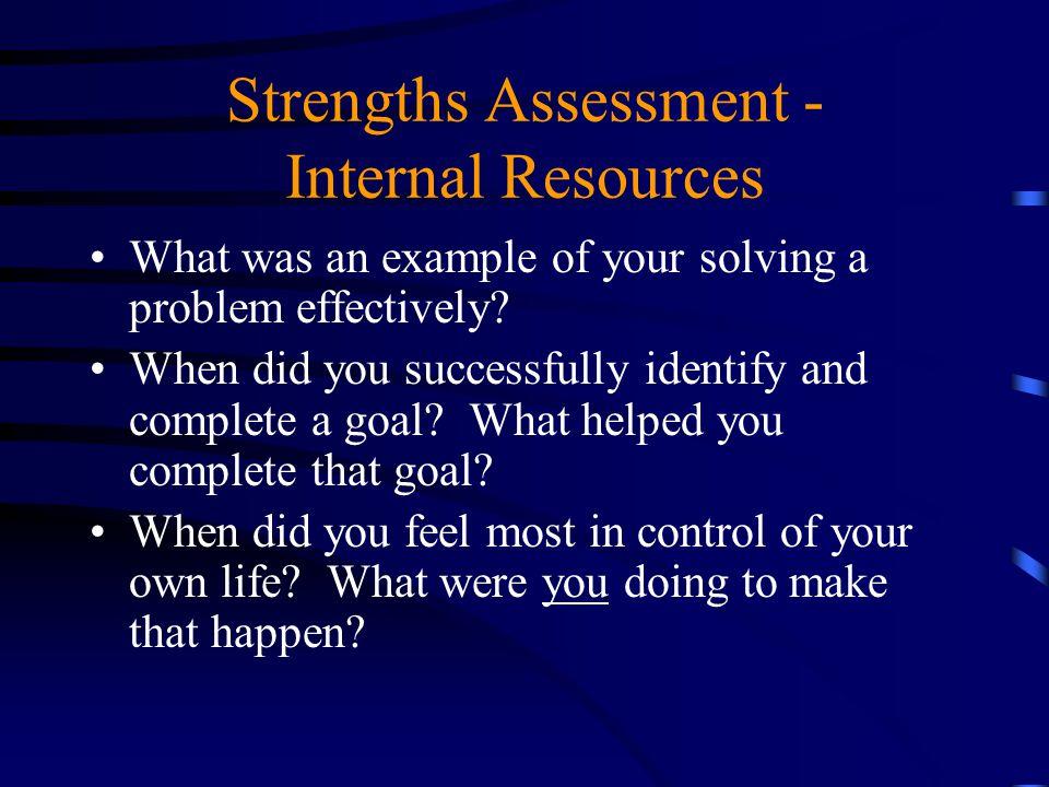 Strengths Assessment - Internal Resources