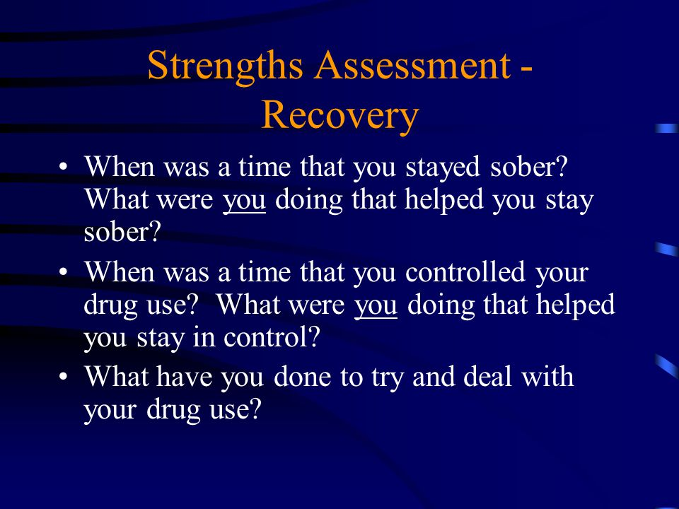 Strengths Assessment - Recovery