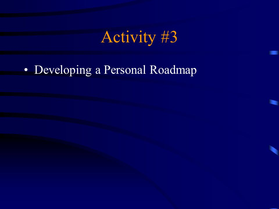 Activity #3 Developing a Personal Roadmap