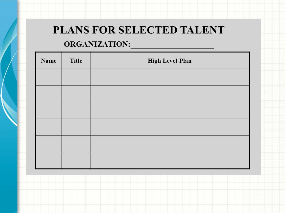 PLANS FOR SELECTED TALENT ORGANIZATION:_____________________