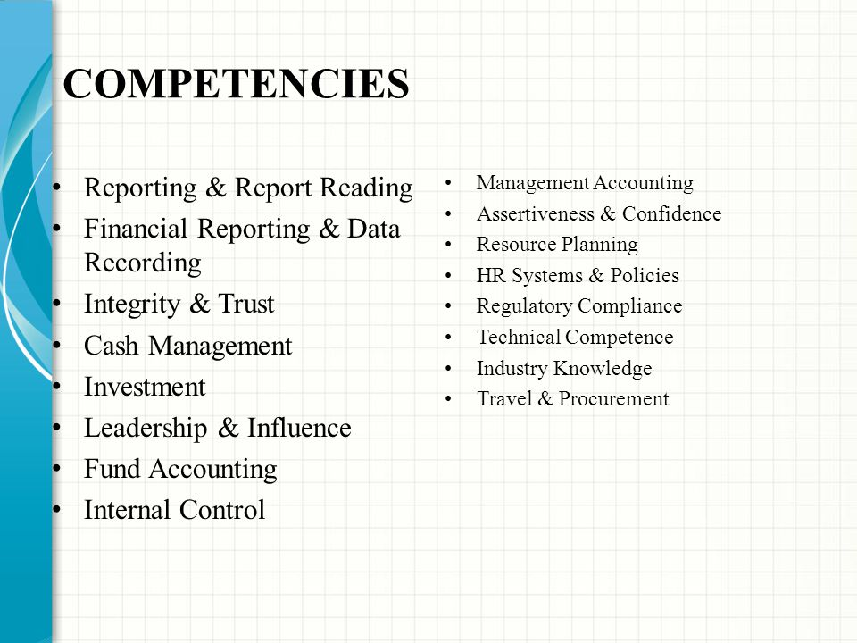 COMPETENCIES Reporting & Report Reading