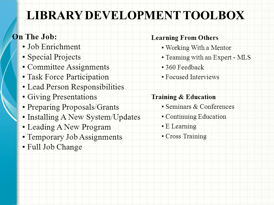 LIBRARY DEVELOPMENT TOOLBOX