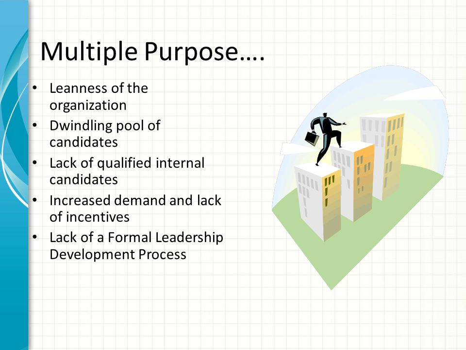 Multiple Purpose…. Leanness of the organization