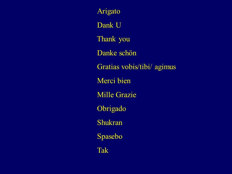 Arigato Dank U. Thank you. Danke schön. Gratias vobis/tibi/ agimus. Merci bien. Mille Grazie. Obrigado.