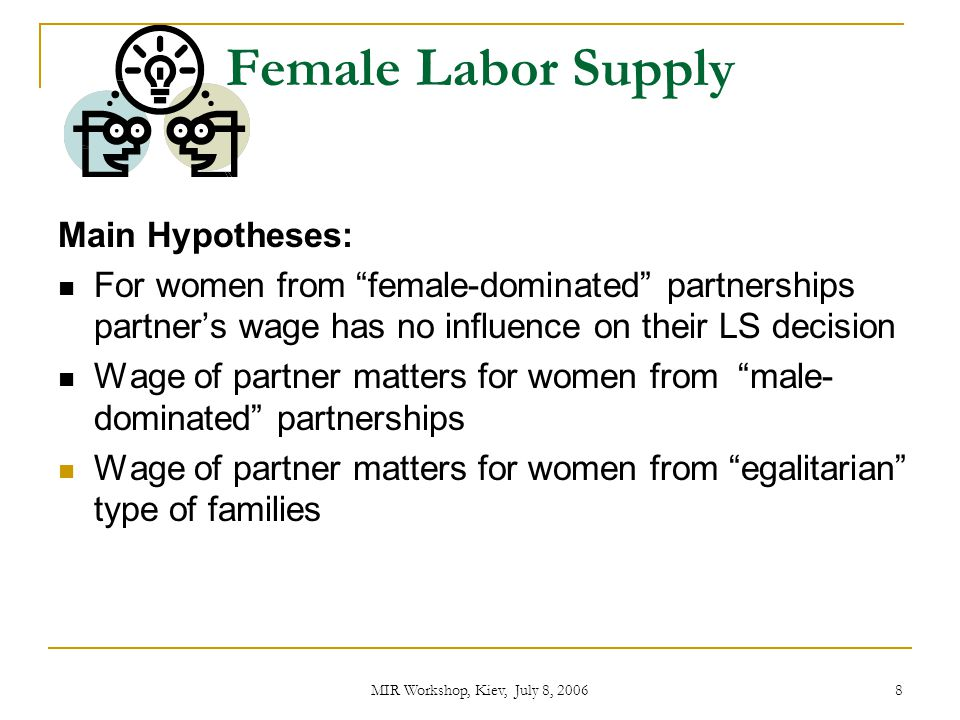 Female Labor Supply Main Hypotheses: