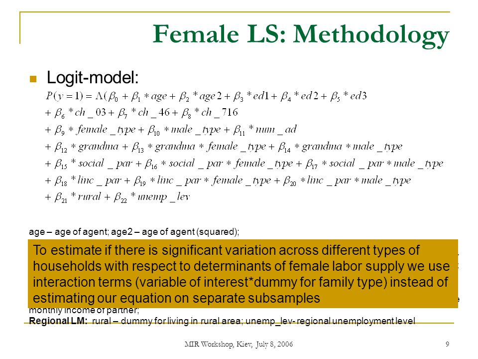 Female LS: Methodology