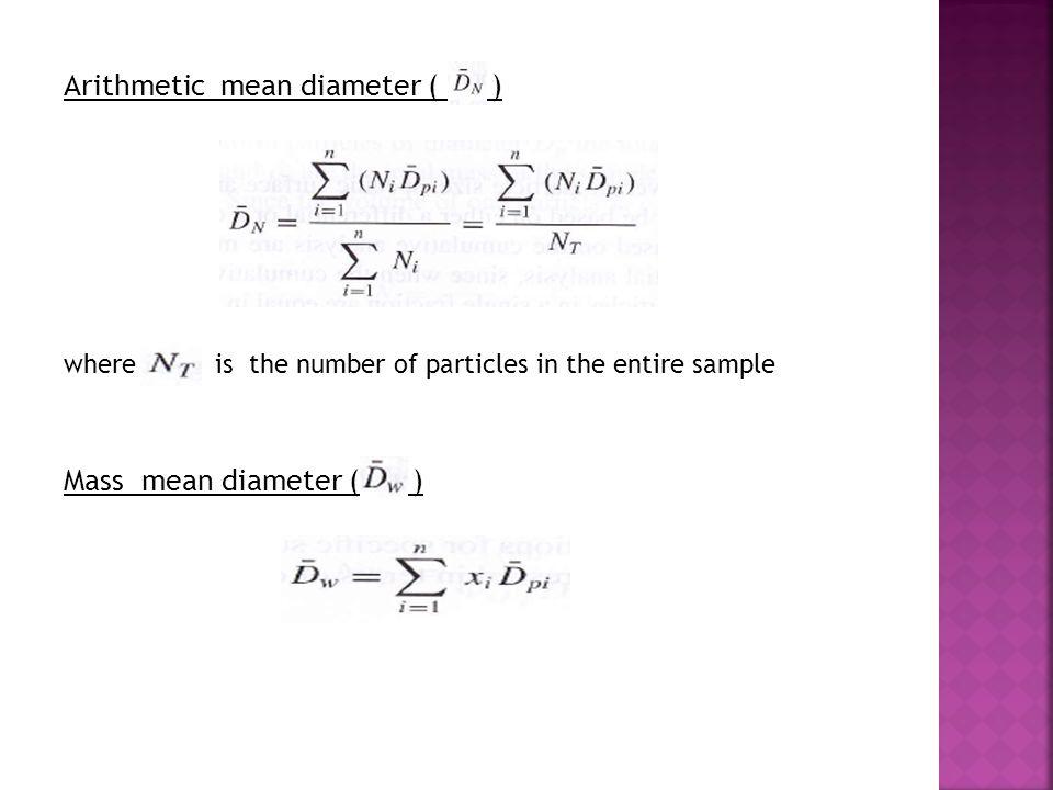 Arithmetic mean diameter ( ) Mass mean diameter ( )