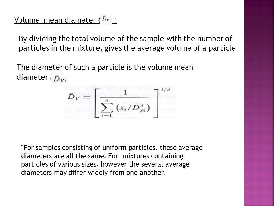 Volume mean diameter ( )