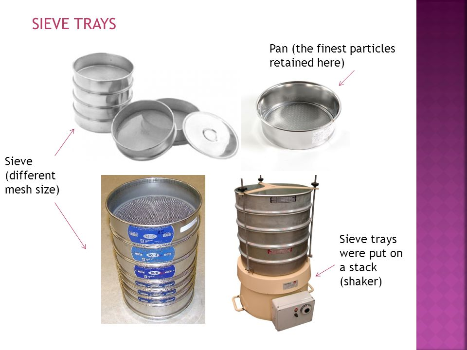 SIEVE TRAYS Pan (the finest particles retained here)