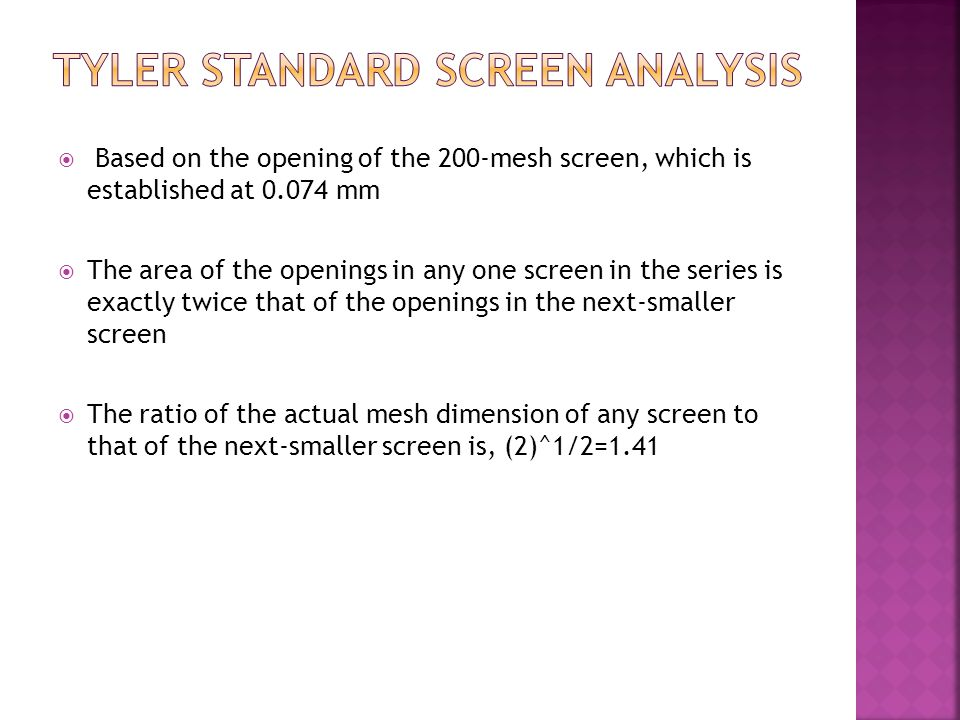 Tyler standard screen analysis