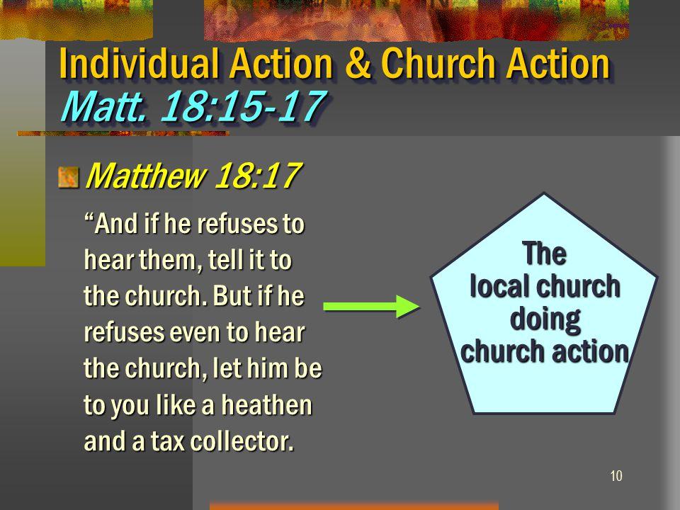 Individual Action & Church Action Matt. 18:15-17