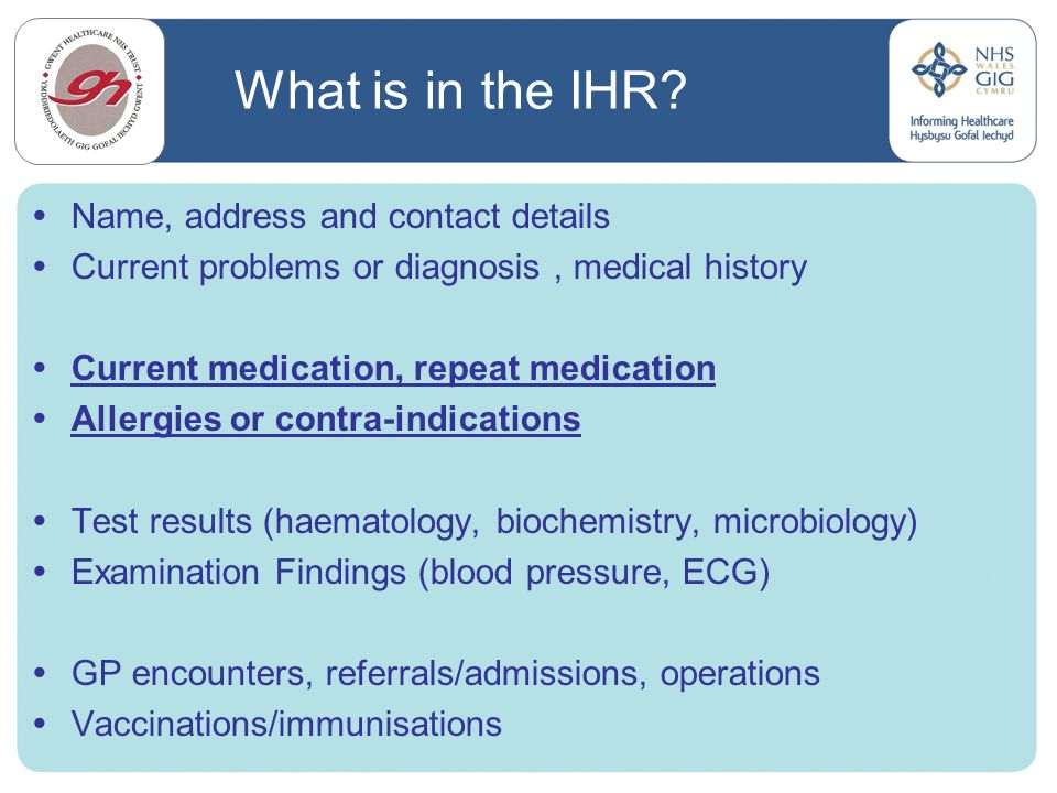 What is in the IHR Name, address and contact details