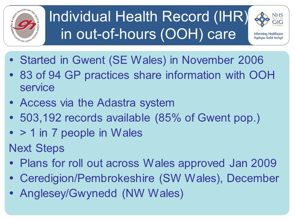 Individual Health Record (IHR) in out-of-hours (OOH) care