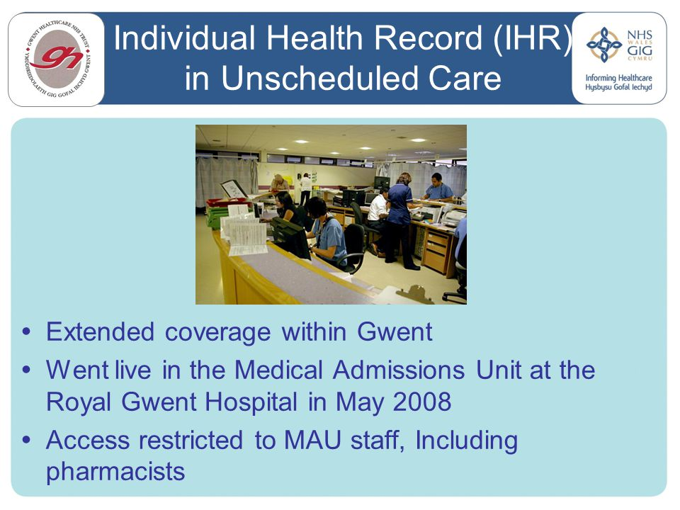 Individual Health Record (IHR) in Unscheduled Care