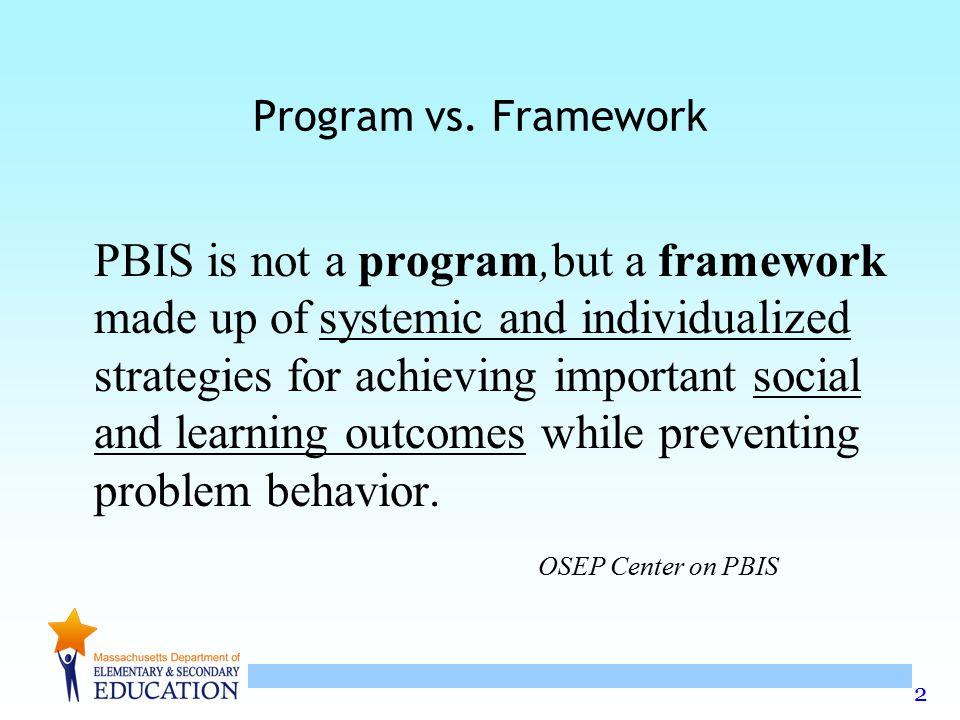 OSEP Center on PBIS Program vs. Framework