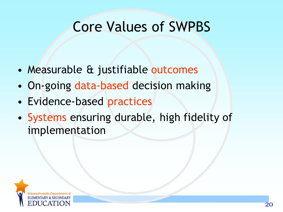 Core Values of SWPBS Measurable & justifiable outcomes
