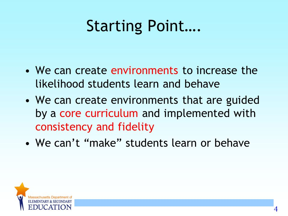 Starting Point…. We can create environments to increase the likelihood students learn and behave.