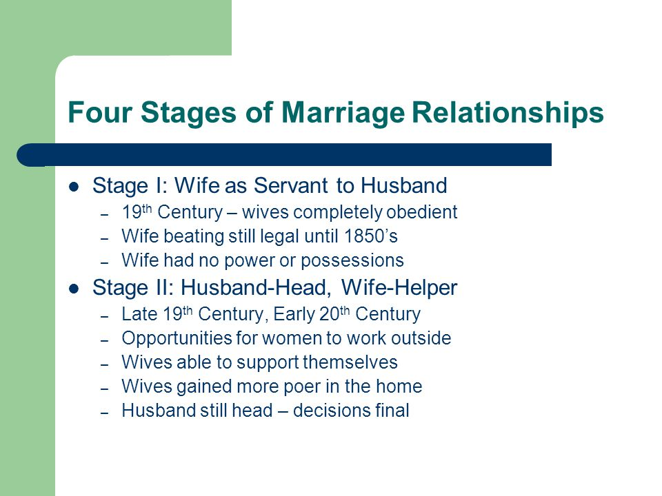 Four Stages of Marriage Relationships