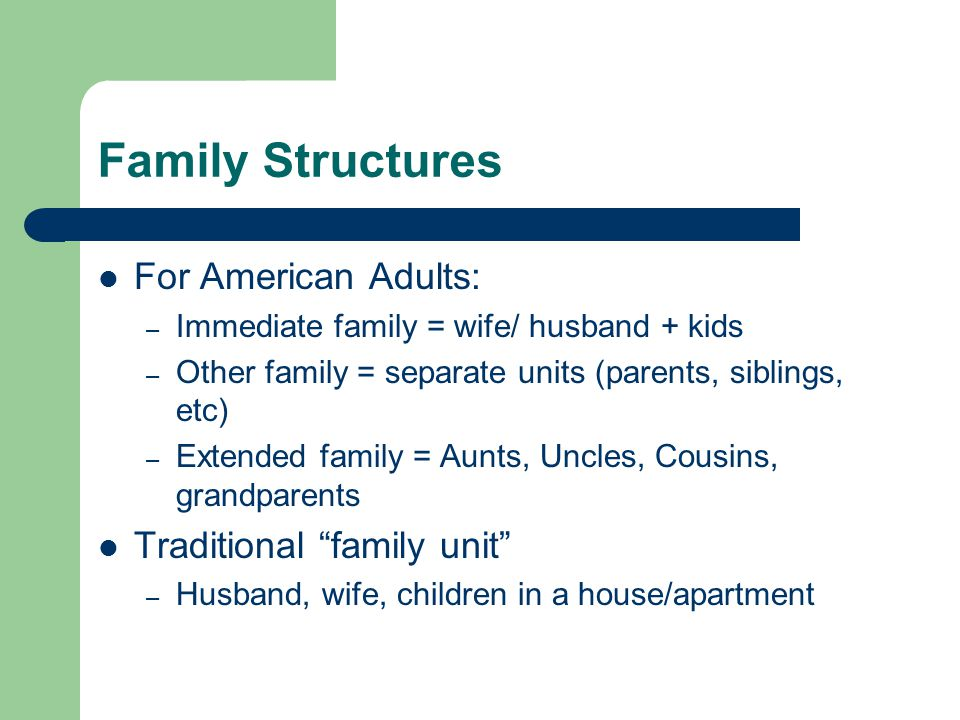 Family Structures For American Adults: Traditional family unit