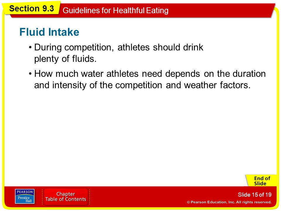 Fluid Intake During competition, athletes should drink plenty of fluids.