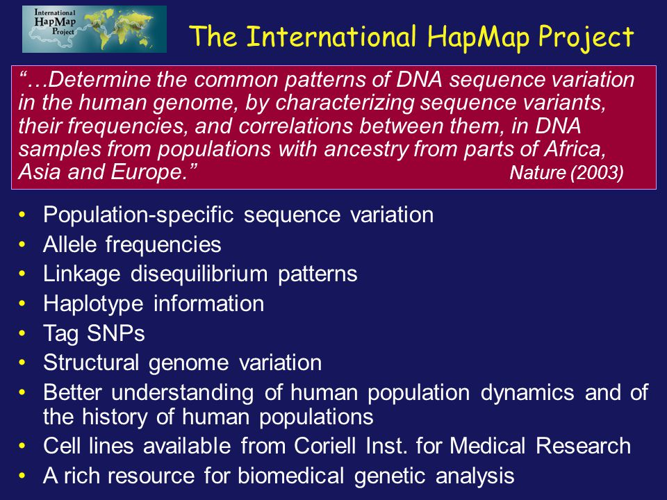 The International HapMap Project